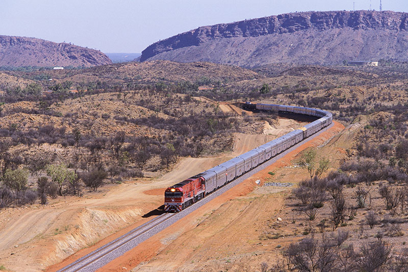 The Ghan train to Darwin departs Alice Springs